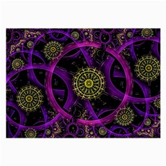 Fractal Neon Rings  Large Glasses Cloth by amphoto