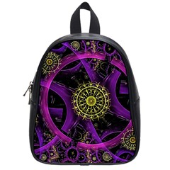 Fractal Neon Rings  School Bag (small) by amphoto