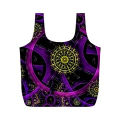 Fractal Neon Rings  Full Print Recycle Bags (m)  by amphoto