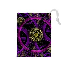Fractal Neon Rings  Drawstring Pouches (medium)  by amphoto