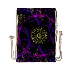 Fractal Neon Rings  Drawstring Bag (small) by amphoto