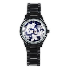 Squares Shapes Many  Stainless Steel Round Watch by amphoto