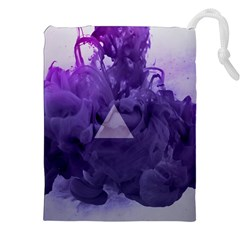 Smoke Triangle Lilac  Drawstring Pouches (xxl) by amphoto