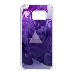 Smoke Triangle Lilac  Samsung Galaxy S7 White Seamless Case by amphoto