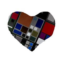 Abstract Composition Standard 16  Premium Flano Heart Shape Cushions