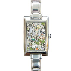 Simple Map Of The City Rectangle Italian Charm Watch by Nexatart