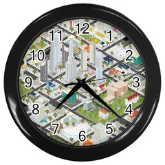 Simple Map Of The City Wall Clocks (black) by Nexatart