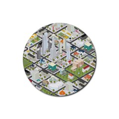Simple Map Of The City Rubber Coaster (round)  by Nexatart