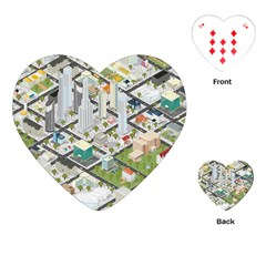 Simple Map Of The City Playing Cards (heart)  by Nexatart