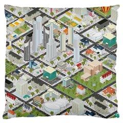Simple Map Of The City Large Cushion Case (one Side) by Nexatart