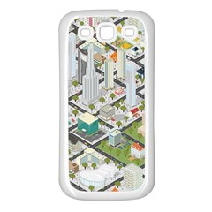 Simple Map Of The City Samsung Galaxy S3 Back Case (white) by Nexatart