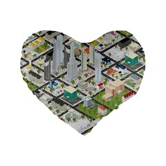 Simple Map Of The City Standard 16  Premium Flano Heart Shape Cushions by Nexatart