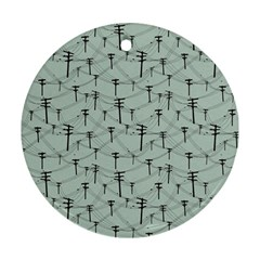 Telephone Lines Repeating Pattern Round Ornament (two Sides)