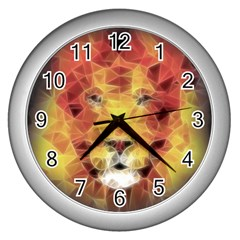 Fractal Lion Wall Clocks (silver)  by Nexatart