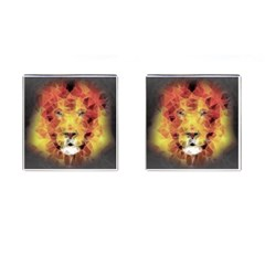 Fractal Lion Cufflinks (square) by Nexatart