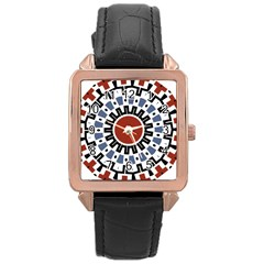 Mandala Art Ornament Pattern Rose Gold Leather Watch