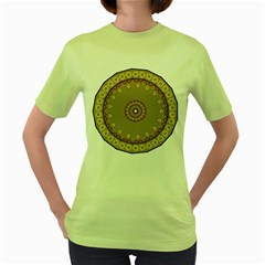 Mandala Art Ornament Pattern Women s Green T Shirt