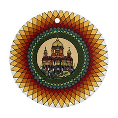 Building Mandala Palace Round Ornament (two Sides)