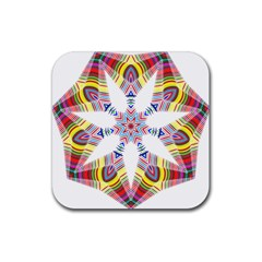 Colorful Chromatic Psychedelic Rubber Coaster (square)  by Nexatart