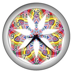 Colorful Chromatic Psychedelic Wall Clocks (silver)