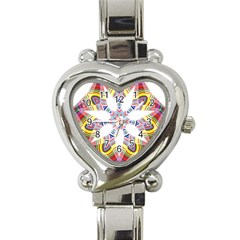 Colorful Chromatic Psychedelic Heart Italian Charm Watch by Nexatart