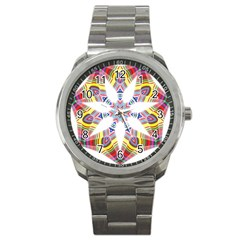Colorful Chromatic Psychedelic Sport Metal Watch by Nexatart