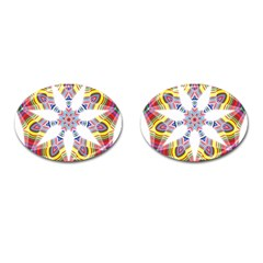 Colorful Chromatic Psychedelic Cufflinks (oval) by Nexatart
