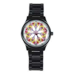 Colorful Chromatic Psychedelic Stainless Steel Round Watch