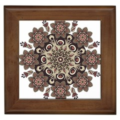 Mandala Pattern Round Brown Floral Framed Tiles by Nexatart