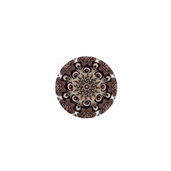 Mandala Pattern Round Brown Floral 1  Mini Magnets by Nexatart