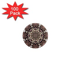 Mandala Pattern Round Brown Floral 1  Mini Magnets (100 Pack)