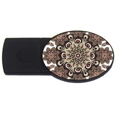 Mandala Pattern Round Brown Floral Usb Flash Drive Oval (4 Gb) by Nexatart