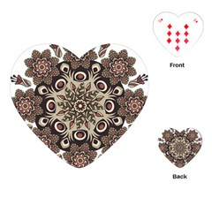 Mandala Pattern Round Brown Floral Playing Cards (heart)