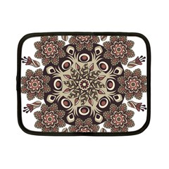 Mandala Pattern Round Brown Floral Netbook Case (small)  by Nexatart