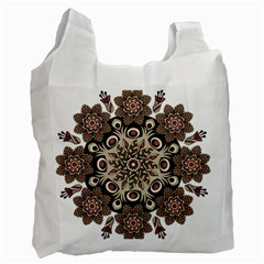 Mandala Pattern Round Brown Floral Recycle Bag (one Side) by Nexatart