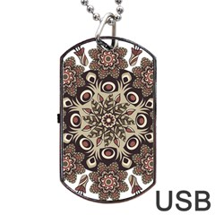 Mandala Pattern Round Brown Floral Dog Tag Usb Flash (two Sides) by Nexatart