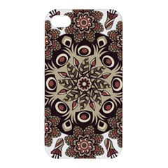Mandala Pattern Round Brown Floral Apple Iphone 4/4s Premium Hardshell Case