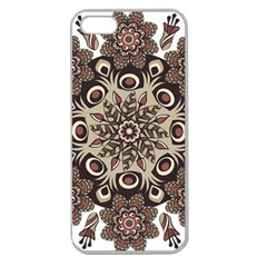 Mandala Pattern Round Brown Floral Apple Seamless Iphone 5 Case (clear) by Nexatart