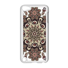 Mandala Pattern Round Brown Floral Apple Ipod Touch 5 Case (white)