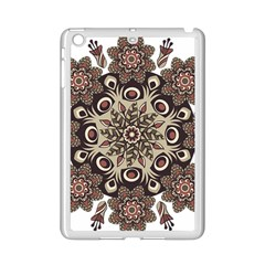 Mandala Pattern Round Brown Floral Ipad Mini 2 Enamel Coated Cases by Nexatart