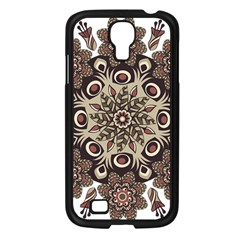 Mandala Pattern Round Brown Floral Samsung Galaxy S4 I9500/ I9505 Case (black)