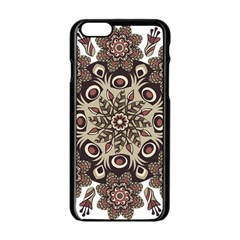 Mandala Pattern Round Brown Floral Apple Iphone 6/6s Black Enamel Case