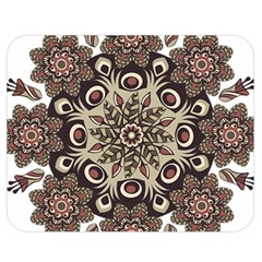 Mandala Pattern Round Brown Floral Double Sided Flano Blanket (medium)
