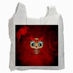 Cute Colorful  Owl, Mandala Design Recycle Bag (one Side) by FantasyWorld7