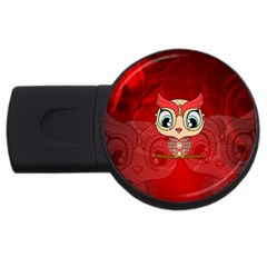 Cute Colorful  Owl, Mandala Design Usb Flash Drive Round (2 Gb) by FantasyWorld7