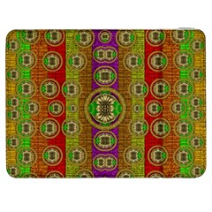 Rainbow Flowers In Heavy Metal And Paradise Namaste Style Samsung Galaxy Tab 7  P1000 Flip Case by pepitasart
