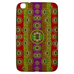 Rainbow Flowers In Heavy Metal And Paradise Namaste Style Samsung Galaxy Tab 3 (8 ) T3100 Hardshell Case  by pepitasart