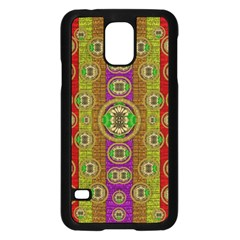 Rainbow Flowers In Heavy Metal And Paradise Namaste Style Samsung Galaxy S5 Case (black) by pepitasart