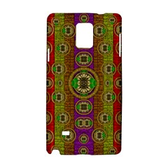Rainbow Flowers In Heavy Metal And Paradise Namaste Style Samsung Galaxy Note 4 Hardshell Case by pepitasart