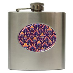 Floral Abstract Purple Pattern Hip Flask (6 Oz) by paulaoliveiradesign